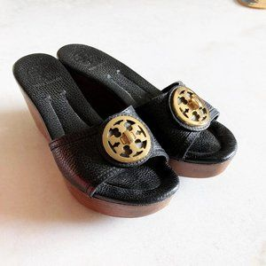Tory Burch Selma slide sandal black gold logo